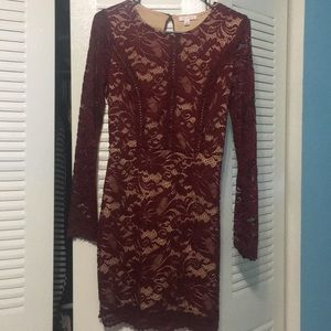 A'gaci burgundy lace dress size M